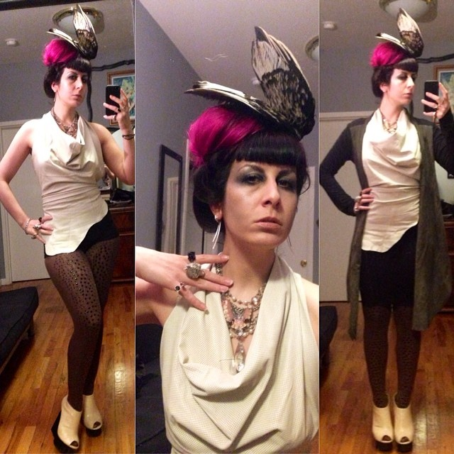 Heading out early for #NYFW before @doriangraywednesdays #fashionweekparty, so two outfits are needed. #reneemasoomian #birdwings hat, #perforatedleather #cowltop, and #leathersweater, with #laperla skirt, #unitednude wedges, #alexandermcqueen skull ring, and, the birthday boy, @purevile necklace. #darkfashion #darkstyle #leather #nycnightlife #doriangraywednesdays
