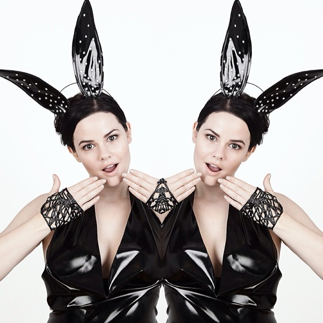 Double @io_waters bunnies! #babyloveslatex #latex #bunnyears by #reneemasoomian. #latexmodel #latexfashion #fashionlatex #darkfashion #darkstyle #hautegothic