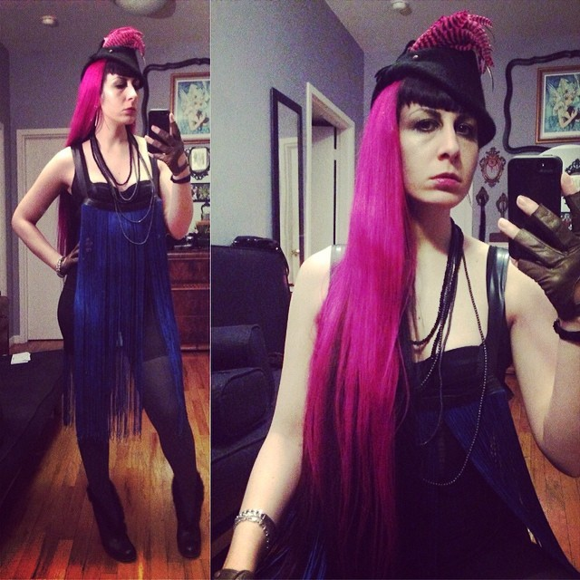 Heading out soon with my hair down. Wearing #reneemasoomian #fringe overdress for the second time, #vintagehat, #laperla bra, and #fluevog heels. #darkstyle #darkfashion #realhair #pinkhair #nycnightlife #nycstyle