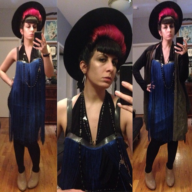 Off to #NYFW. Dressed in #reneemasoomian #leathersweater, #fringe overdress, and cowl underdress. #vintagehat, #unitednude heels. #darkstyle #darkfashion #fashionweek #nycfashion #nycstyle