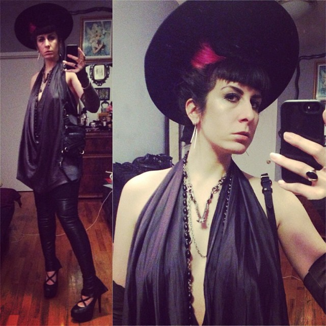 """Heading out tonight in my """"casual"""" night out clothing. #vintagehat, #reneemasoomian top and fingerless #leathergloves, #leatherleggings, #jungletribe necklace, #wildcard bag and #natachamarro heels. #darkstyle #darkfashion #fashiongoth #nycstyle #nycfashion #nycnightlife"""