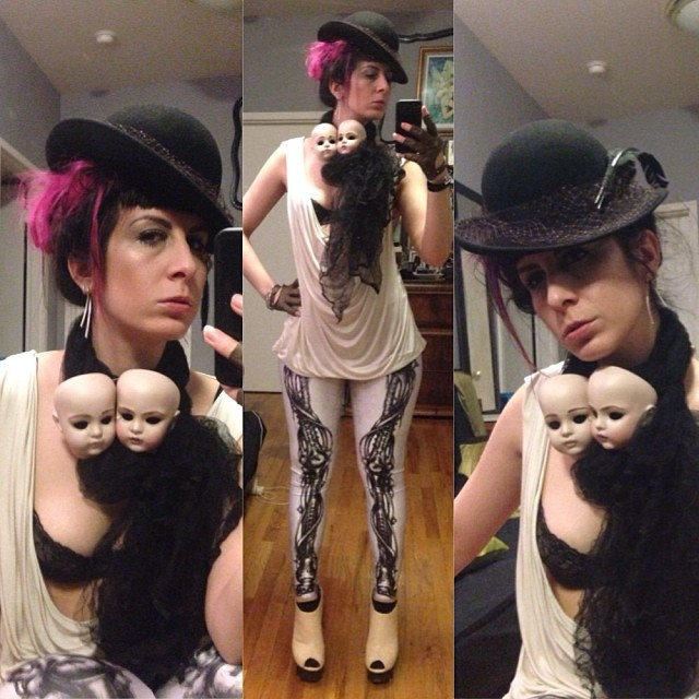 After a long day building ikea and organizing its time to go out in doll heads and bio mechanical leggings. #vintagehat, #reneemasoomian doll scarf, #agentprovocateur bra, #viviennewestwood top, #blackmilk leggings, #unitednude shoes. #darkstyle #darkfashion #nycstyle #nycfashion #nycnightlife #dollheads
