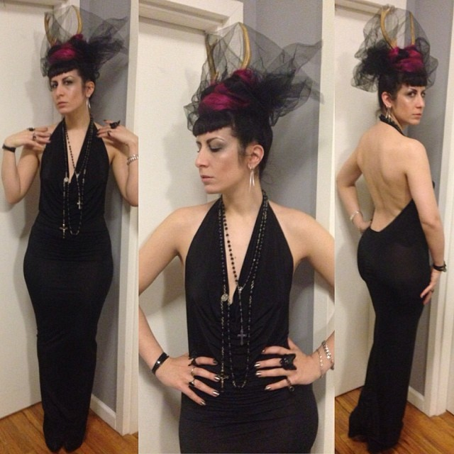 Heading out for some #newyears celebration. #reneemasoomian dress and #alexanderMcQueen bracelet. #deerantlers #nycfashion #nycstyle #nycnightlife