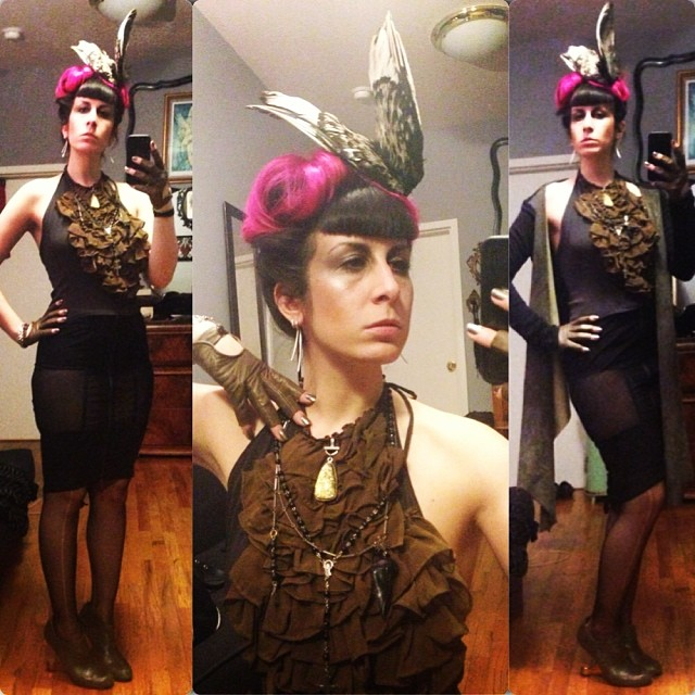 Heading out to see @thedylanmonroe, @kayvonzand, and @xoannaevans. Dressed in #reneemasoomian #leathersweater, #birdwing hat, and #ruffletop, #lipservice skirt,  #unitednude heels, and #bloodmilk necklace. #darkfashion
