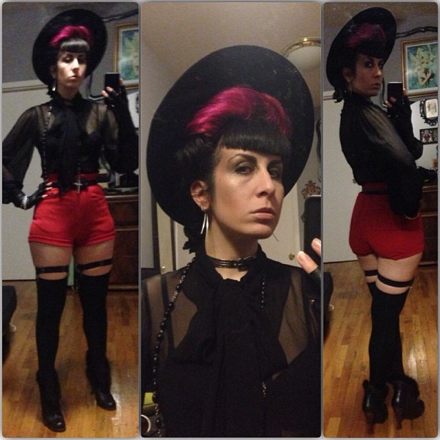 After two nights of family it will be nice to dance my cares away. See you at #doriangray and don't forget to say my name at the door. #vintagehat, #vintage shorts, #vintagegucci buckle choker, #fluevog heels. #darkfashion #nycclublife #nycfashion #nycnightlife #fashiongoth