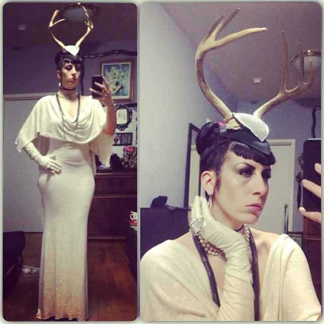 I'm just the type of person that you can call up the day before and ask for all white and antlers. #reneemasoomian #antler hat and #sweaterdress, #viviennewestwood necklace, #alexandermcqueen ring, #vintage gloves. #nycfashion #nycnightlife #taxidermyfashion #deadthings #iweardeadthings #winterwhite #yestheyarereal