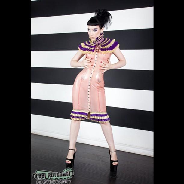reneemasoomian :     @MarloMarquise in one of our #couture dresses shot by #DebbiRotkowitz. #BabyLovesLatex #latexdress #latexfashion #fashionlatex #ruffles #nycfashion #designerlatex    http://www.reneemasoomian.com