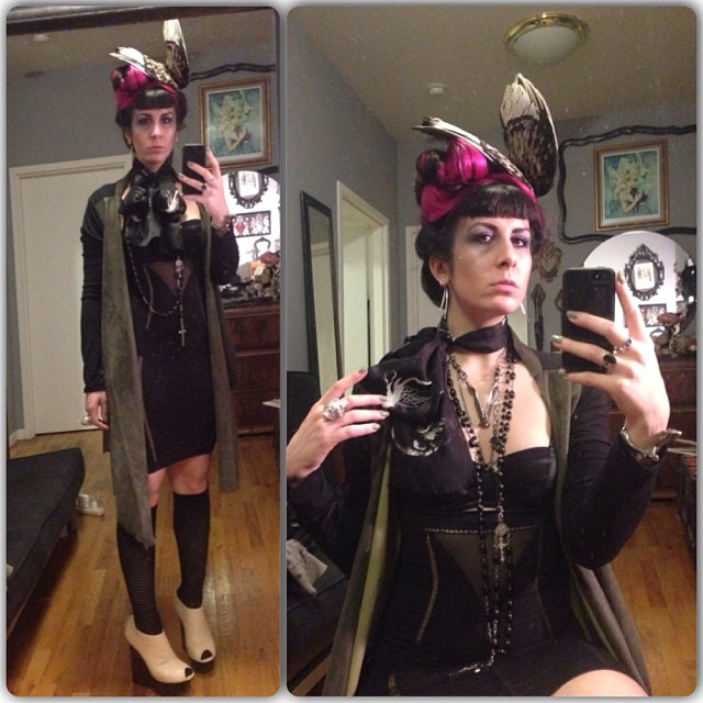 Off for some Sunday night fun. #reneemasoomian #leathersweater and #birdwing hat, #laperla bra and skirt, #jungletribe necklace, #unitednude shoes. #deadthings #darkfashion #fashiongoth #nycfashion #nycnightlife