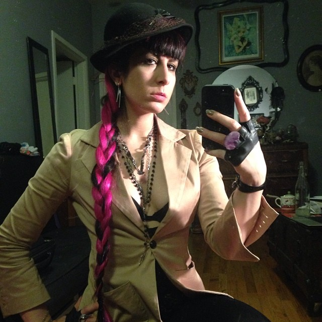 Off to have some fun tonight. #vintagehat, #cynthiarowley jacket, and #jungletribe necklace. #nycfashion #darkfashion #realhair #pinkhair.
