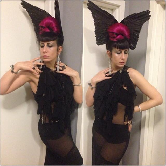 It's all about the #deadbird tonight. #reneemasoomian dress and headpiece. #nycnightlife #nycfashion #fashiongoth #darkfashion #deadthings