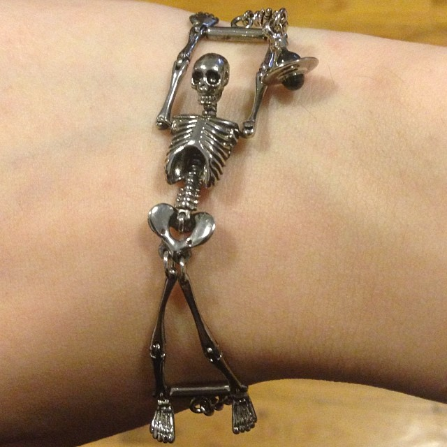 Picked up this little cutie at the #VivienneWestwood sample sale. Who doesn't like a little man on their arm. #skeleton #bracelet #westwood