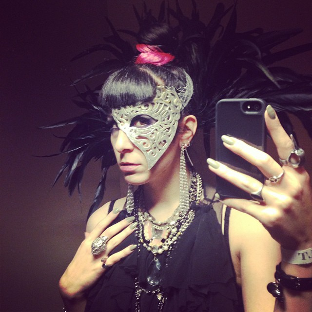 Off to another #halloween party. #nycfashion #nycnightlife #nychalloween #feathers #fashiongoth