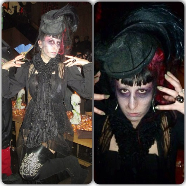 Two better photos from last night one for @joosseestyles and the other from @angelovizcarrondo. #lastnightsparty #nychalloween #nycnightlife #ghost #undead #halloweencostume #antiqueclothing #antiquefashion #victorianfashion #victorianclothing #darkfashion
