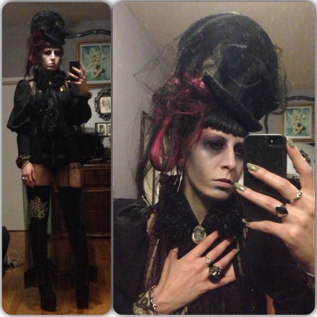 Have to get a better picture but Victorian ghost it is. Now headed to @bartschland #Halloween party. #victorian scarf, blouse, and under blouse. #1930s hat, #babyloveslatex shorts, skirt, and stockings, #alexandermcqueen skull ring. #nycnightlife #nychalloween #fashiongoth #fashionlatex #darkfashion #deadthings #