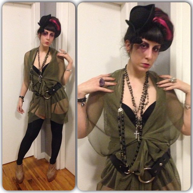 Shipwreck chic is happening tonight for #doriangray this week. #viviennewestwood #vintagehat, #reneemasoomian overpiece, #laperla bustier, #jeffreycampbell shoes. #darkfashion #fashiongoth #gothicfashion #nycfashion #nycnightlife #shipwreckchic