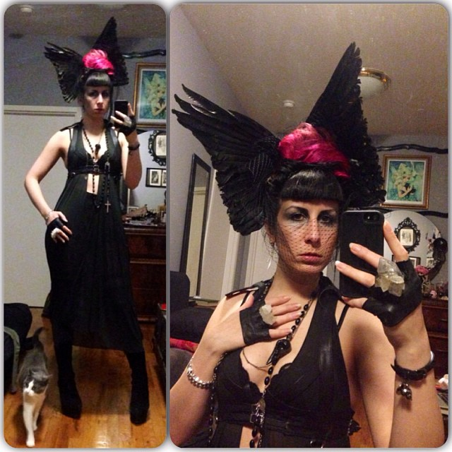 Off to #vectorgallery's opening then #doriangray tonight! #reneemasoomian headwear, dress, and shorts. #skingraft harness #bloodmilk necklace #alexandermcqueen bracelet. #nycfashion #nycnightlife #fashiongoth #darkfashion #deadthings #taxidermyfashion