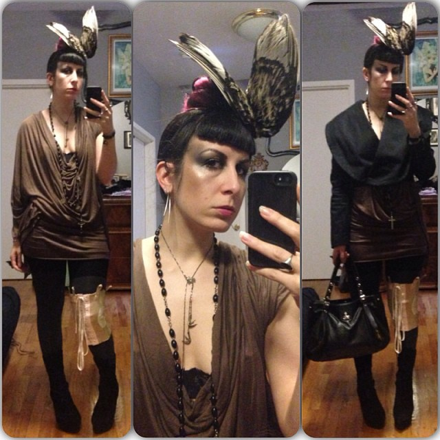 Off to see a show tonight. #reneemasoomian dress and #birdwings hat, #bloodmilk necklace, #viviennewestwood blazer and bag. #nycfashion #nycnightlife #nightlife #fashiongoth #darkfashion #deadthings