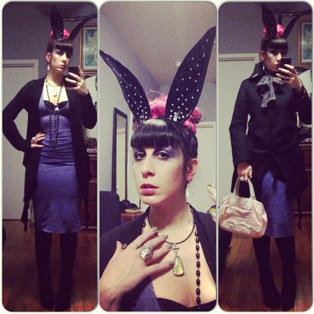 Bunny casual tonight. #babyloveslatex #bunnyears, #reneemasoomian dress, #viviennewestwood purse, #rickowens sweater, #parkchoonmoo jacket, #alexandermcqueen skull ring. #nycfashion #nycnightlife #darkfashion #fashiongoth #gothicfashion