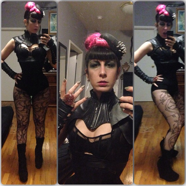 I'm ready for battle tonight at #doriangray. #reneemasoomian hat, ring, and shoulder ruffle, #northboundleather #neckpiece, #laperla bra. #nycfashion #nycnightlife #gothicfashion #fashiongoth #pinkhair #darkfashion