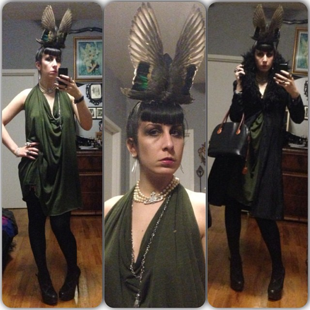 Off for a night if adventure. Dress and #birdwings hat by #reneemasoomian, #viviennewestwood necklace, #Betsyjohnson jacket, #natachamorro heels, and #ledererdeparis purse. #nycfashion #nycnightlife #fashiongoth #taxidermyfashion