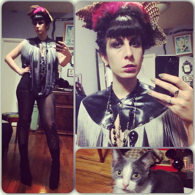 Sometimes she looks at me like I'm crazy.        #reneemasoomian leggings and top, #babyloveslatex #fringe cape, #bloodmilk #bird necklaces, #taxidermyfashion #birdwings #nycfashion #nycnightlife #latexfashion #