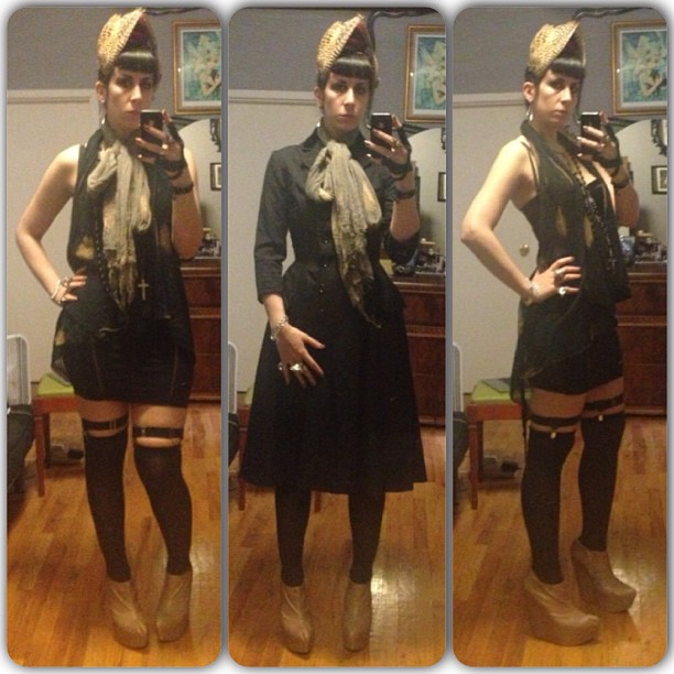 Heading out to Brooklyn to meet up with @sophireaptress. Dressed in #reneemasoomian top, scarf, and #birdwings #headpiece, #vintagejacket, #laperla skirt, #Jeffreycampbell shoes. #nycfashion #darkfashion #taxidermyfashion