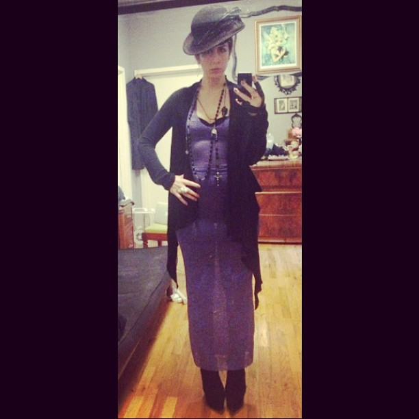Heading out to #nyfw in #reneemasoomian dress, #rickowens sweater, #vintagehat, #mcqueen skull ring. #nycfashion