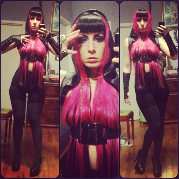 Off to a night of fun at #ontop. With #natachamarro heels and #mcqueen skull rings. #pinkhair #realhair #longhair #latex #nycnightlife #nightlife #hairshirt