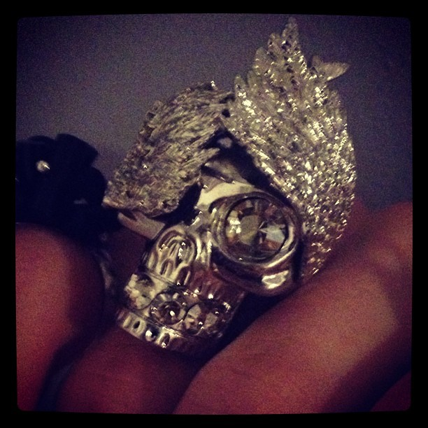 This little lovely came in the mail. How can I say no to an #AlexanderMcQueen #skull ring with #birdwings. It's like a little me ring.