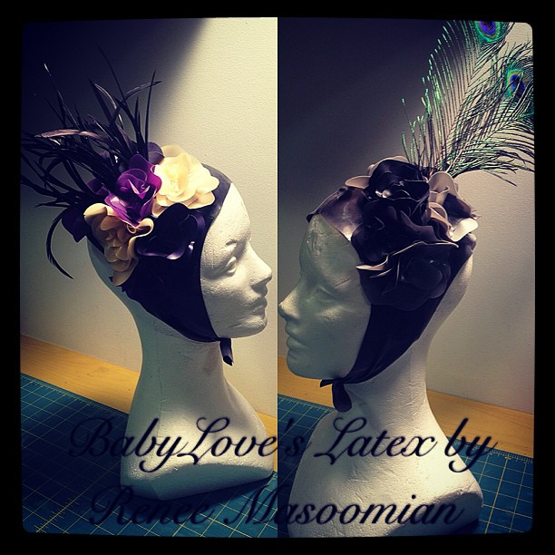 Just finished up two new headdresses. #babyloveslatex #latex #latexdesign #latexfashion #latexclothing #fashion #feathers #flowers #fetishfashion #headdress #millinery
