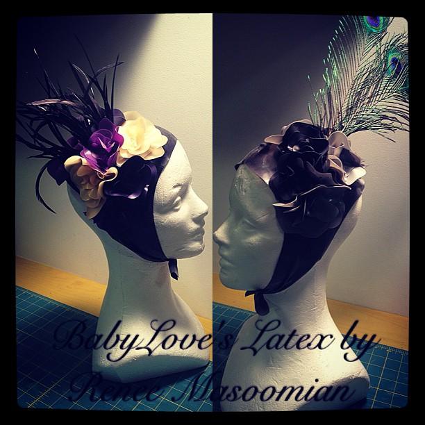 Just finished up two new headdresses. #babyloveslatex #latex #latexdesign #latexfashion #latexclothing #fashion #feathers #flowers #fetishfashion #headdress #millinery
