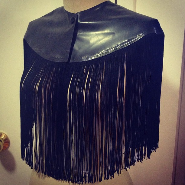 Just finished a #new #fringe #cape for our upcoming #fashionshow at #fetishcon this August. #latex #babyloveslatex #latexdesign #latexfashion #fashion #designer