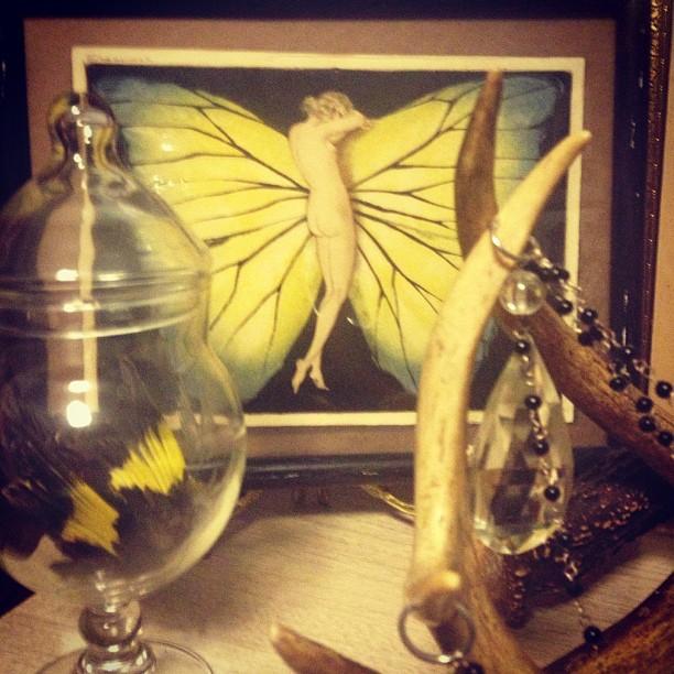 "My original Louis Icart, ""Woman In Wings"" etching from 1936. #art #icart #deco #etching #vintage #butterfly #woman #wings"