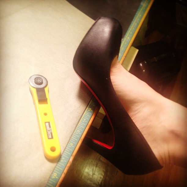 Sometimes, working late night in the studio also means braking in new #louboutins. #multitasking #fashion #heels #work #designer #style