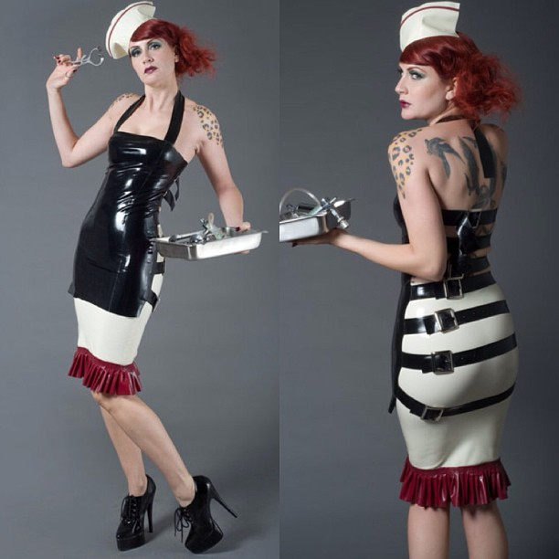 Here are some great photos from one of our earlier collections. #nurse #fashion #latex #latexfashion #medical #tattooed