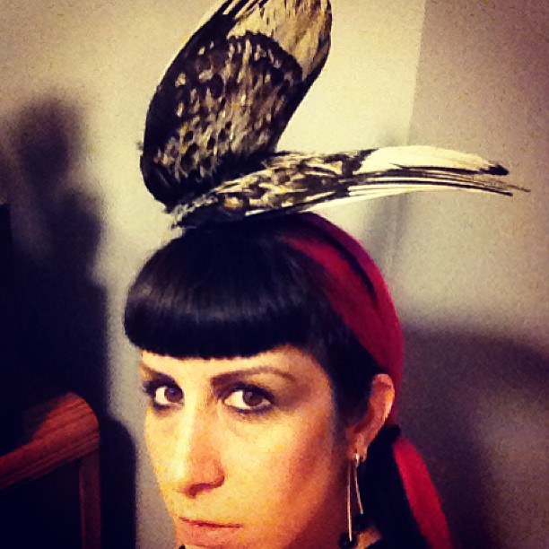 Just finished my new bird wing hat! I can never have too many dead things to put on my head.  #hat #nyc #fashion #style #deadthings #bird #wings #pinkhair