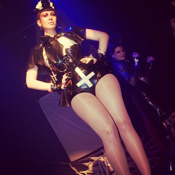 A quick pick of me on stage from a few nights ago. #latex #fashion #fetish #nyc #cross #legs #stage #show