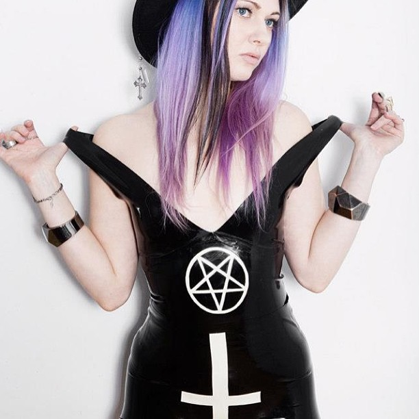 @ReneeMasoomian: BabyLove's Latex, Memento Mori collection, Pentagram Tank and Classic Cross Briefs. #latex #fetish #fashion #style #cross #pentagram #noir #nofilter #occult #dark