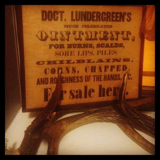 Just a little something to decorate the studio. #vintage #medical #antlers #decor