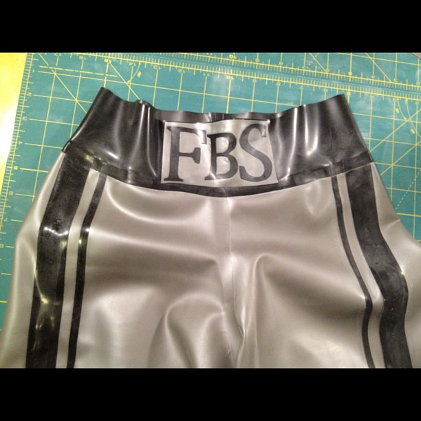 Custom latex boxing shorts. (Taken with  Instagram )