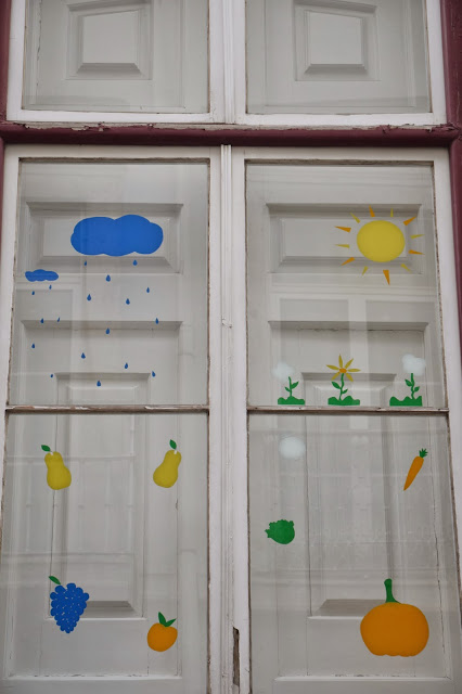 decorated kindergarten window.