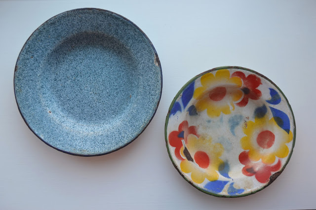 old enamel plates from a flea market in Lisbon.