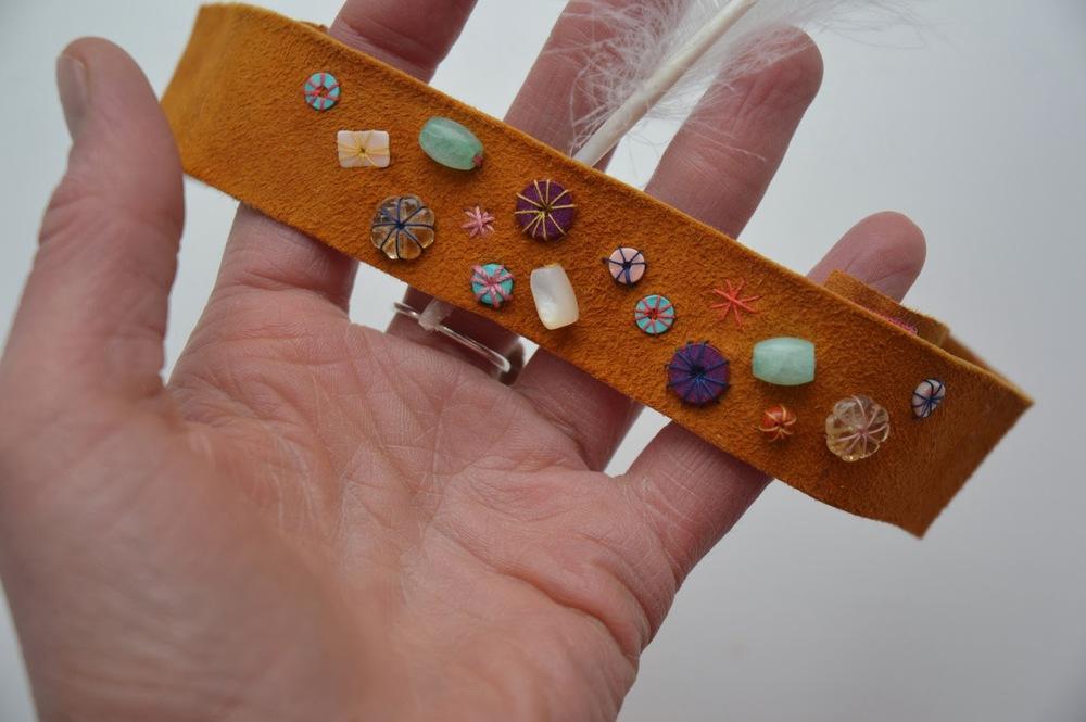 headband with beads.