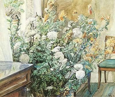 """Anna Syberg: """"Interiør med krysanthemum"""", 1905."""