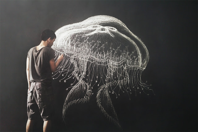 Chalk jellyfish by  Zaki Arifin  .