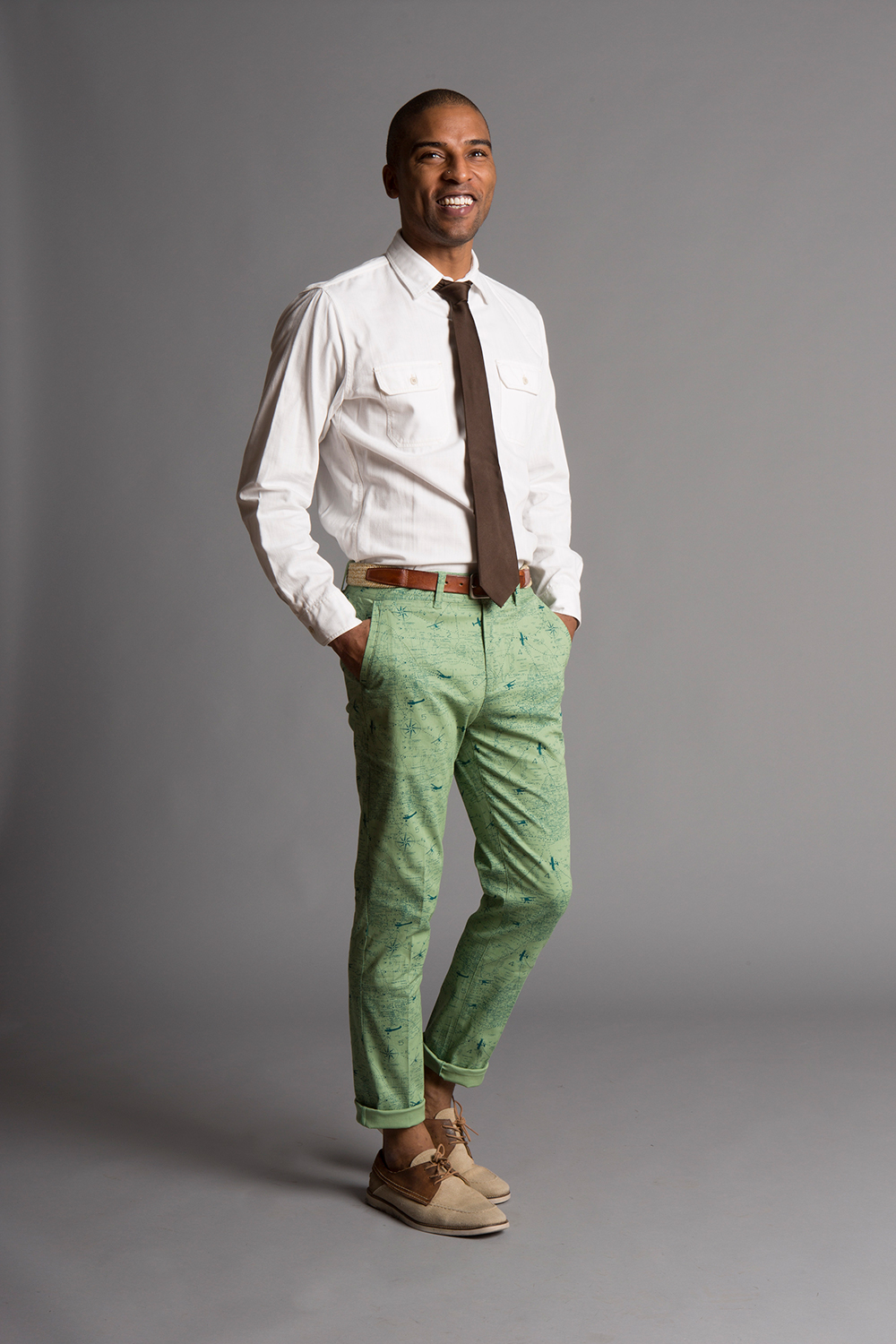 GRANT SKINNY STRETCH CHINO PANTS SEA GREEN/OLIVE MAP PRINT