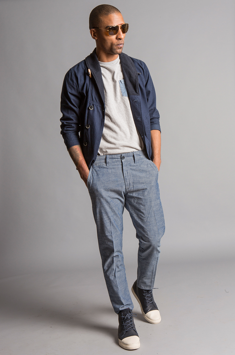 GRANT SKINNY FLOOD SELVAGE TWILL PANTS INDIGO CROSSHATCH SELVAGE CHAMBRAY