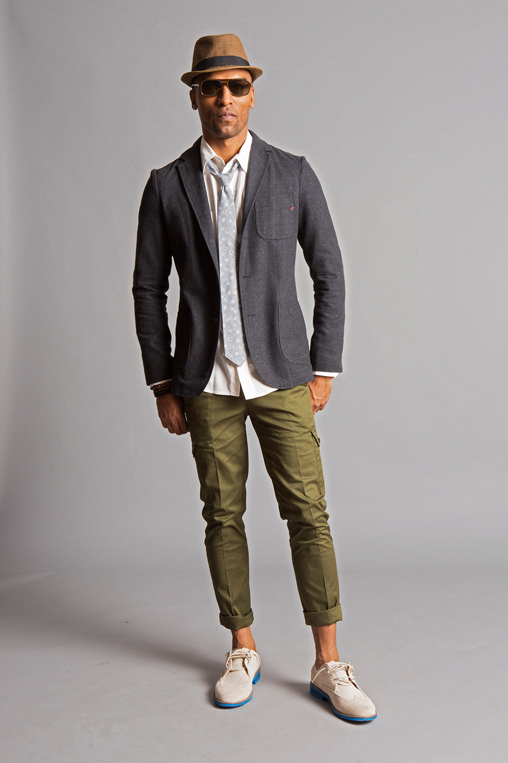 GRANT SKINNY STRETCH CARGO PANTS OLIVE