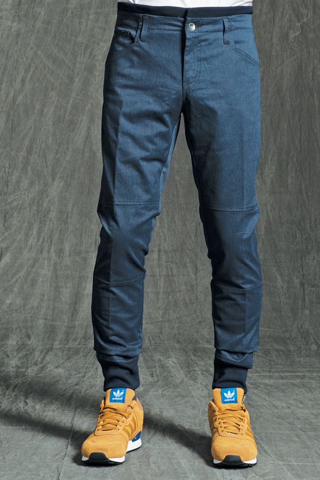 ESTEBAN PREMIUM JOGGER PANTS IN HEATHER NAVY STRETCH TWILL