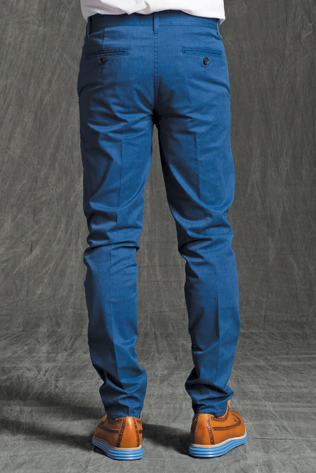 GRANT SKINNY STRETCH CHINO PANTS IN HEATHER BLUE STRETCH TWILL